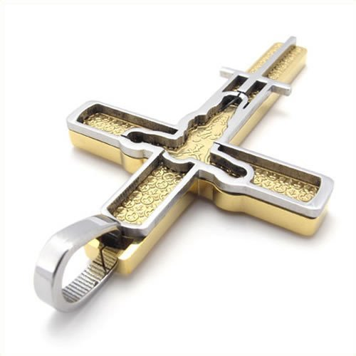 Cyqun Two-Tone Gold And Silver Stainless Steel Jesus Cross Pendant Necklace For Men And Women
