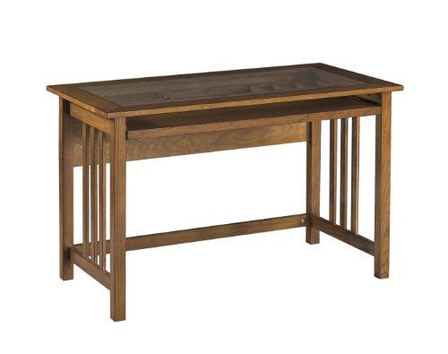 Osp Designs Mission Computer Desk In Oak With Glass Desk