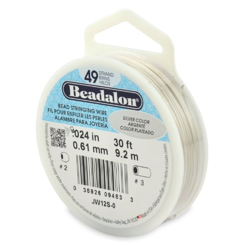 Beadalon 49-Strand Bead Stringing Wire, 0.024-Inch, Silver Color, 30-Feet (Beadalon Bead Bumpers compare prices)