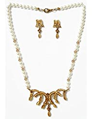 DollsofIndia Faux Pearl Necklace With Earrings - Stone And Metal - White - B00T3QO6N4