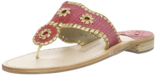 Jack Rogers Women's Striped Cork Navajo Thong Sandal,Red,9.5 M US