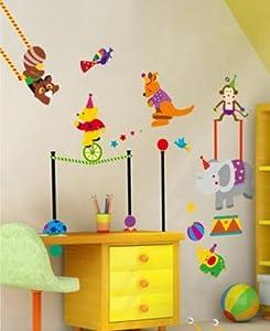 Lovely Animals Circus troup Nursery Room Wall Decal Peel&Stick Boys & Girls Playroom Decor Sticker Elephant/Monkey/Kangaroo/Bear/racoon