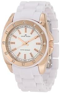 Anne Klein Women's 109178RGWT Swarovski Crystal Accented Rosegold-Tone White Bracelet Watch