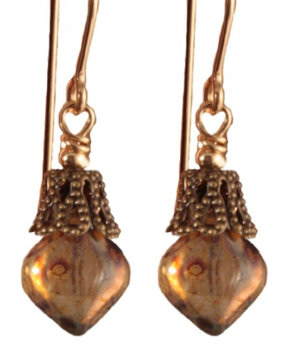 Anything but Antiquated Earrings - Goldplated Surgical Steel - Amber