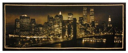 "Elegant Affordable Horizontal Wall Art Print - 39.5"" New York City Black & White Skyline Stretched Canvas Photo Print"