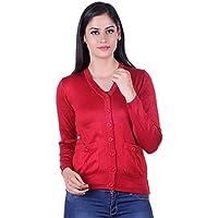eWools Women's Woolen Cardigan (Revance-706_Red_Large)