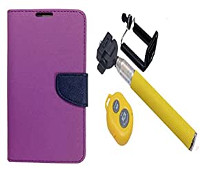 Novo Style Book Style Folio Wallet Case Micromax Canvas Spark Q380 Purple + Selfie Stick with Adjustable Phone Holder and Bluetooth Wireless Remote Shutter