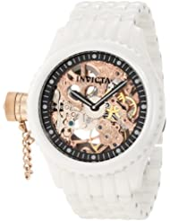 Invicta Men's 1925 Russian Diver Mechanical Rose Gold Tone Skeleton Dial White Ceramic Watch