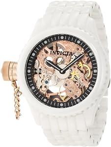 Invicta Men's RussianRose Gold Tone Skeleton Dial White Ceramic Watch INVICTA-1925