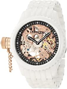 Invicta Men's RussianRose Gold Tone Skeleton Dial White Ceramic Watch INVICTA-1925