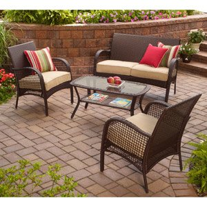 INDOOR OUTDOOR PATIO FURNITURE ALL WEATHER WICKER 4 PC WITH SEAT