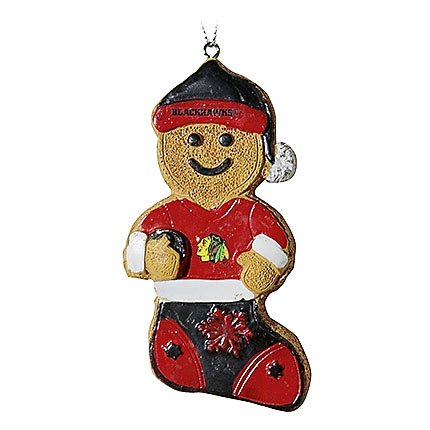 Chicago Blackhawks Resin Gingerbread Man Ornament