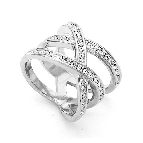 FM42 18k Rose/White Gold Plated Triple Row Cubic Zirconia Crossover Ring