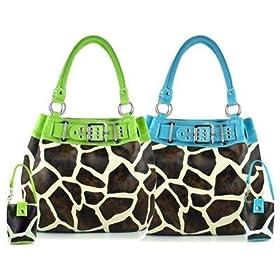 Trendy Giraffe Print Hobo Bucket Handbag - Turquoise or Lime Trim