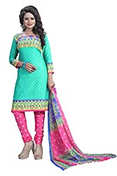 Naaidaakho Sky Blue And Pink Printed Dress Material