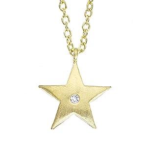 Unique 14k Yellow gold petite Star pendant necklace with White diamond