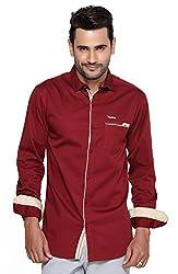 Rapphael Men's Full sleeve Casual Shirt -Meroon