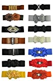 Chooice Boutique Women Ladies Flower Diamante Pearl Elastic Waist Belt - Double Flower