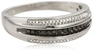 Men's Sterling Silver Black and White Diamond Ring (1/4 cttw, I-J Color, I2-I3 Clarity), Size 10 by Amazon Curated Collection