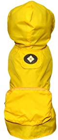 Fab Dog Pocket Travel Dog Rain Jacket, Yellow Argyle, Medium