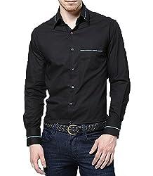 Dazzio Men's Slim Fit Cotton Casual Shirt (DZSH0072_Grey_38)