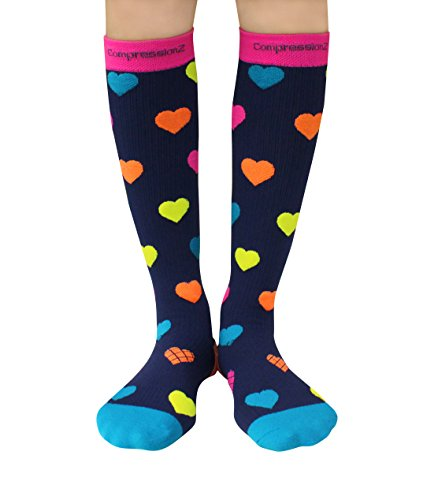 Compression Socks (Hearts L/ 20-30mmHg) Men & Women Fun Running Casual Socks (Pink Heart Socks White)