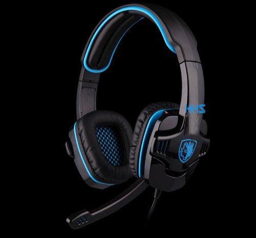 Happyhomestation Audio Stereo Hi-Fi Headset Headband Pc Notebook Pro Gaming Headset,Microphone Headset With Adjustable Volume(Blue)