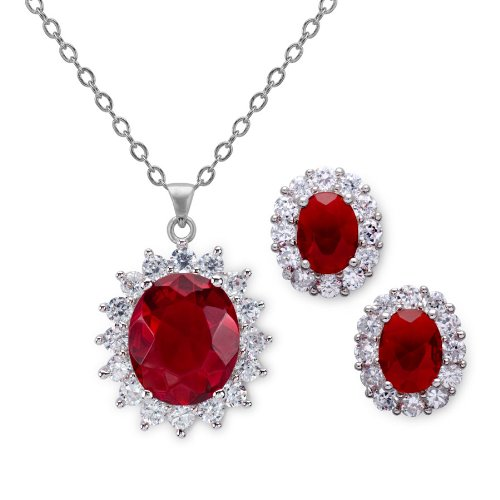 11.5 Carat Simulated Ruby Oval Shaped Earring and Pendant Set