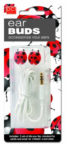 Dci 14383 Ladybug Earbuds - Retail Packaging - Red/Black