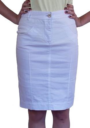 new casual boutique knee length pencil white denim