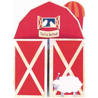 Barnyard Fun Jumbo Invitations 8ct - 1