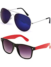 SHEOMY SUNGLASSES COMBO - SILVER BLUE MERCURY AVIATOR SUNGLASSES AND WAYFARER BLACK RED SUNGLASSES WITH 2 BOXES...