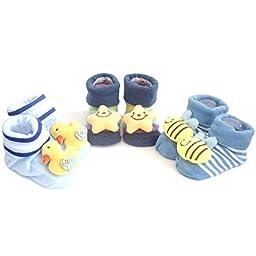 3 Pack Cute Infant Baby 3D Socks Slippers (0 to 6 Mos, Dark Blue / Blue-DSB)