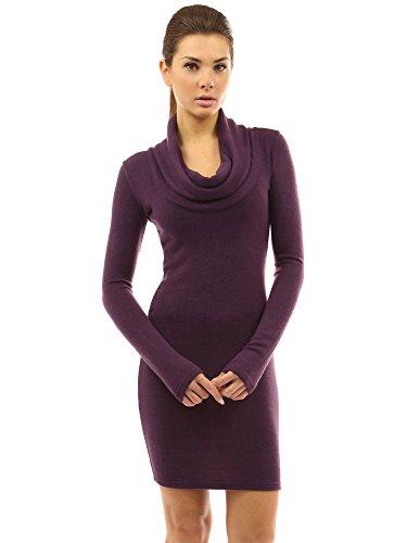 PattyBoutik Women's Cowl Neck Long Sleeve Knit Dress (Dark Purple S)