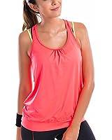 La Isla Damen Ringerrücken Gym Elastische Fitness Sport T-shirt Tank Top