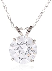 10k White Gold Solitaire Pendant Made with Swarovski Zirconia (2 cttw), 18