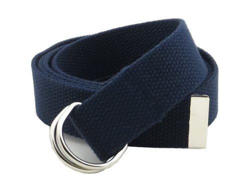 """Thin Web Belt Double D-Ring Buckle 1.25"""" Wide with Metal Tip Solid Color (M-Navy)"""