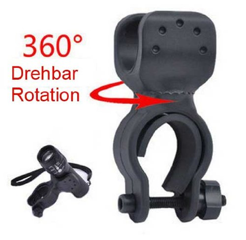 Bicycle Bike Flashlight Led Torch Mount Holder 360° Rotation Cycling Clip Clamp