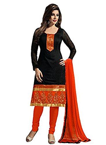 DivyaEmporio Women's Faux Crepe Black and Orange Dress Material (Crepe Material compare prices)