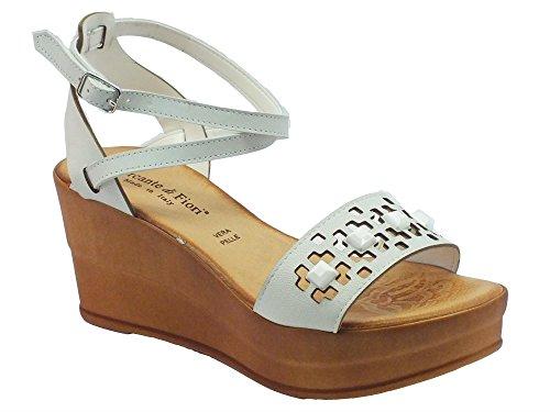 Sandali Mercante di Fiori in pelle bianca fibbia alla caviglia zeppa alta (Taglia 40)