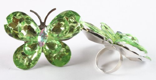 Ladies Light Green Double Butterfly Metal Adjustable Finger Ring
