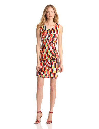 Tiana B Women's Paint Strokes Printed Dress, Multi, Small