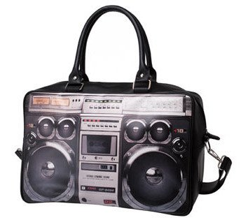 80s Ghettoblaster Handbag black grey