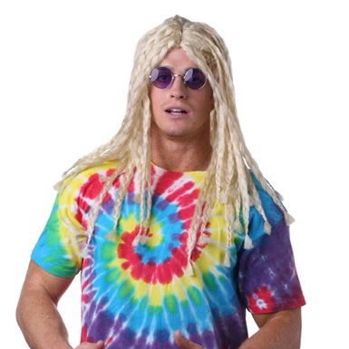 Mens Long Blonde Rasta Hippie Halloween Costume