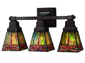 Stained Glass Vanity Light Fixtures : Prairie Dragonfly Tiffany Stained Glass Bathroom Lighting Vanity Fixture 20 Inches W - Bathroom ...