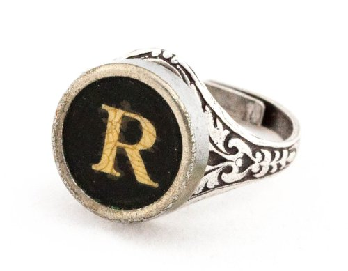 Authentic Typewriter Key Ring - Initial R