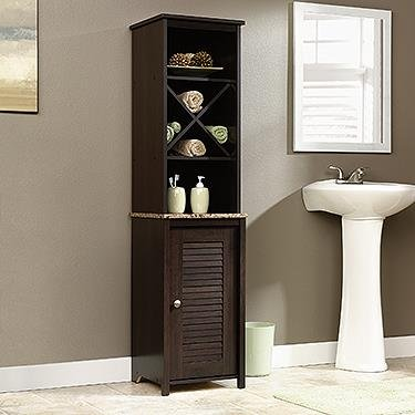 Find Cheap Sauder Linen Tower Bath Cabinet, Cinnamon Cherry Finish