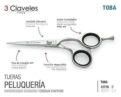 """3 Claveles Forbici Professionali in Acciaio Inox, Cisellato a Caldo Serie Misura cm """" 5'' Toba"""