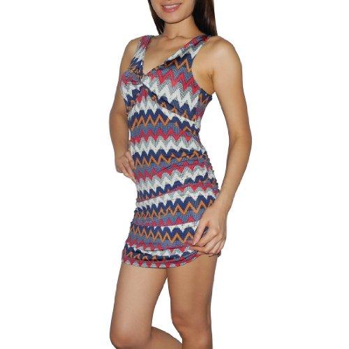 Women Thai Exotic Fashion Cute Stretchy Ruched Sleeveless Mini Tank Dress - Size: M