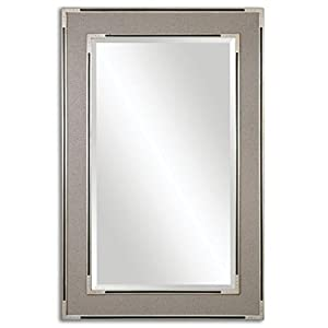 61 Beige Fabric Frame Wall Mirror With